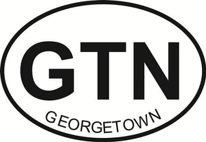 Georgetown decal from Oval Envy.  Great price for a durable vinyl decal.  We've got animals, beaches, dogs, cats and more!  Search our catalog for your next Euro Oval Decal.