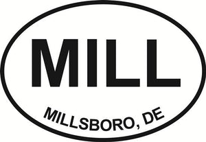 Millsboro decal from Oval Envy.  Great price for a durable vinyl decal.  We've got animals, beaches, dogs, cats and more!  Search our catalog for your next Euro Oval Decal.
