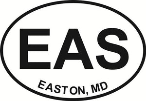 Easton decal from Oval Envy.  Great price for a durable vinyl decal.  We've got animals, beaches, dogs, cats and more!  Search our catalog for your next Euro Oval Decal.