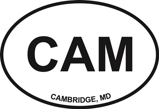 Cambridge decal from Oval Envy.  Great price for a durable vinyl decal.  We've got animals, beaches, dogs, cats and more!  Search our catalog for your next Euro Oval Decal.