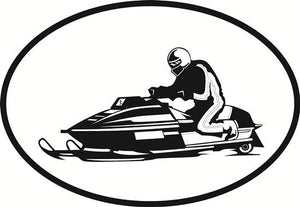 Snowmobile decal from Oval Envy.  Great price for a durable vinyl decal.  We've got animals, beaches, dogs, cats and more!  Search our catalog for your next Euro Oval Decal.