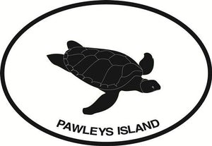 Pawleys Island Turtle decal from Oval Envy.  Great price for a durable vinyl decal.  We've got animals, beaches, dogs, cats and more!  Search our catalog for your next Euro Oval Decal.