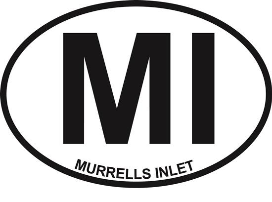 Murrells Inlet decal from Oval Envy.  Great price for a durable vinyl decal.  We've got animals, beaches, dogs, cats and more!  Search our catalog for your next Euro Oval Decal.