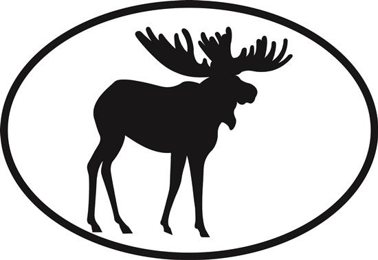 Moose decal from Oval Envy.  Great price for a durable vinyl decal.  We've got animals, beaches, dogs, cats and more!  Search our catalog for your next Euro Oval Decal.