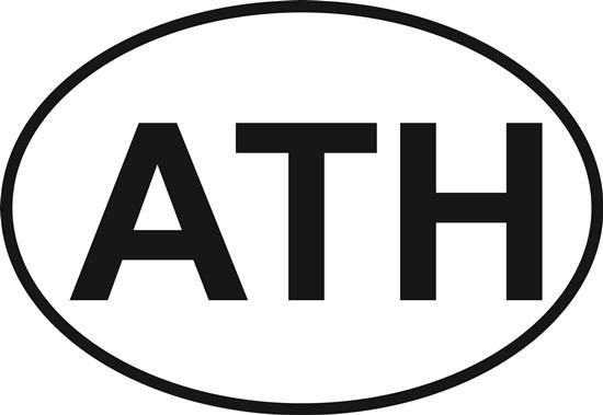 Athens decal from Oval Envy.  Great price for a durable vinyl decal.  We've got animals, beaches, dogs, cats and more!  Search our catalog for your next Euro Oval Decal.