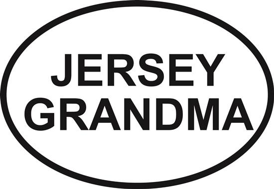 Jersey Grandma decal from Oval Envy.  Great price for a durable vinyl decal.  We've got animals, beaches, dogs, cats and more!  Search our catalog for your next Euro Oval Decal.