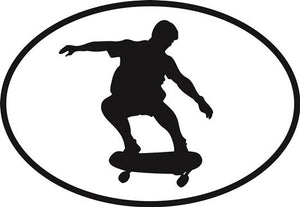Skateboarding_New decal from Oval Envy.  Great price for a durable vinyl decal.  We've got animals, beaches, dogs, cats and more!  Search our catalog for your next Euro Oval Decal.