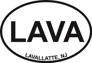 Lavallette decal from Oval Envy.  Great price for a durable vinyl decal.  We've got animals, beaches, dogs, cats and more!  Search our catalog for your next Euro Oval Decal.