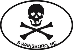 Jolly Roger (Swansboro) decal from Oval Envy.  Great price for a durable vinyl decal.  We've got animals, beaches, dogs, cats and more!  Search our catalog for your next Euro Oval Decal.