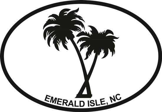 Palm Trees (Emerald Isle) decal from Oval Envy.  Great price for a durable vinyl decal.  We've got animals, beaches, dogs, cats and more!  Search our catalog for your next Euro Oval Decal.