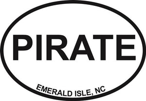 Pirate (Emerald Isle) decal from Oval Envy.  Great price for a durable vinyl decal.  We've got animals, beaches, dogs, cats and more!  Search our catalog for your next Euro Oval Decal.