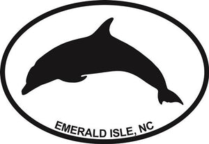 Dolphin (Emerald Isle) decal from Oval Envy.  Great price for a durable vinyl decal.  We've got animals, beaches, dogs, cats and more!  Search our catalog for your next Euro Oval Decal.