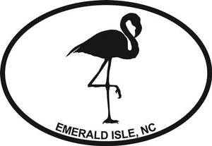 Flamingo (Emerald Isle) decal from Oval Envy.  Great price for a durable vinyl decal.  We've got animals, beaches, dogs, cats and more!  Search our catalog for your next Euro Oval Decal.