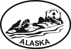 Sea Otter AK decal from Oval Envy.  Great price for a durable vinyl decal.  We've got animals, beaches, dogs, cats and more!  Search our catalog for your next Euro Oval Decal.