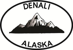 Denali Mountain decal from Oval Envy.  Great price for a durable vinyl decal.  We've got animals, beaches, dogs, cats and more!  Search our catalog for your next Euro Oval Decal.