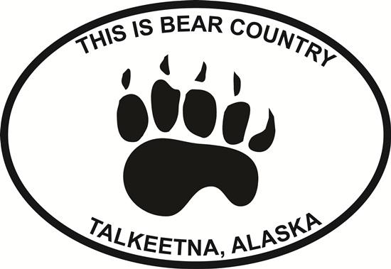 Talkeetna Bear Country decal from Oval Envy.  Great price for a durable vinyl decal.  We've got animals, beaches, dogs, cats and more!  Search our catalog for your next Euro Oval Decal.