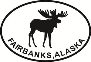 Fairbanks Moose decal from Oval Envy.  Great price for a durable vinyl decal.  We've got animals, beaches, dogs, cats and more!  Search our catalog for your next Euro Oval Decal.