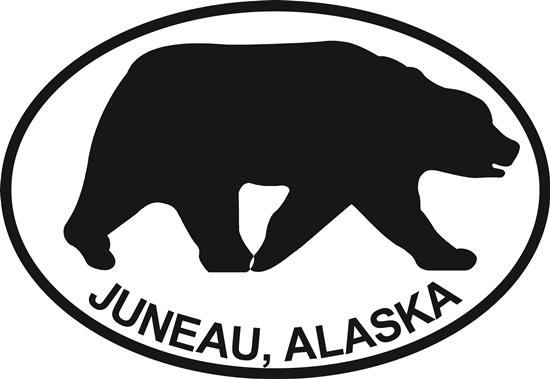Juneau Bear decal from Oval Envy.  Great price for a durable vinyl decal.  We've got animals, beaches, dogs, cats and more!  Search our catalog for your next Euro Oval Decal.