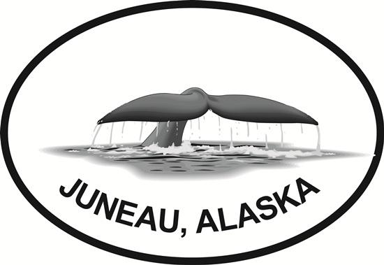 Juneau Fluke decal from Oval Envy.  Great price for a durable vinyl decal.  We've got animals, beaches, dogs, cats and more!  Search our catalog for your next Euro Oval Decal.