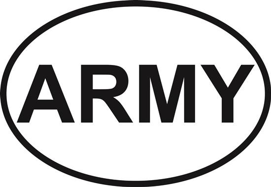 Army decal from Oval Envy.  Great price for a durable vinyl decal.  We've got animals, beaches, dogs, cats and more!  Search our catalog for your next Euro Oval Decal.