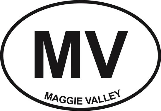 Maggie Valley decal from Oval Envy.  Great price for a durable vinyl decal.  We've got animals, beaches, dogs, cats and more!  Search our catalog for your next Euro Oval Decal.