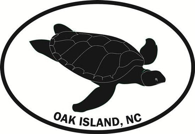 Oak Island (Turtle) decal from Oval Envy.  Great price for a durable vinyl decal.  We've got animals, beaches, dogs, cats and more!  Search our catalog for your next Euro Oval Decal.