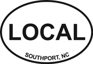 Southport Local decal from Oval Envy.  Great price for a durable vinyl decal.  We've got animals, beaches, dogs, cats and more!  Search our catalog for your next Euro Oval Decal.