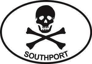 Jolly Roger (Southport) decal from Oval Envy.  Great price for a durable vinyl decal.  We've got animals, beaches, dogs, cats and more!  Search our catalog for your next Euro Oval Decal.