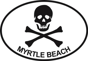 Jolly Roger (Myrtle Beach) decal from Oval Envy.  Great price for a durable vinyl decal.  We've got animals, beaches, dogs, cats and more!  Search our catalog for your next Euro Oval Decal.