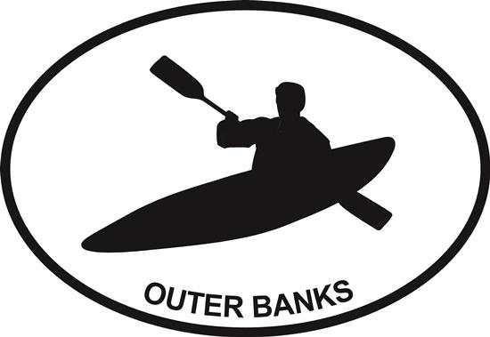 Outer Banks (Kayak) decal from Oval Envy.  Great price for a durable vinyl decal.  We've got animals, beaches, dogs, cats and more!  Search our catalog for your next Euro Oval Decal.