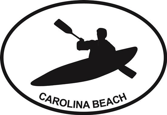 Kayak (Carolina Beach) decal from Oval Envy.  Great price for a durable vinyl decal.  We've got animals, beaches, dogs, cats and more!  Search our catalog for your next Euro Oval Decal.