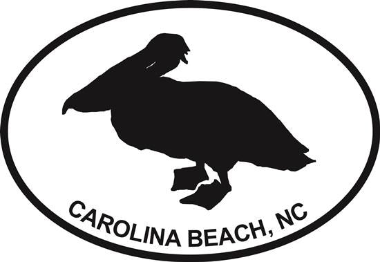 Pelican (Carolina Beach) decal from Oval Envy.  Great price for a durable vinyl decal.  We've got animals, beaches, dogs, cats and more!  Search our catalog for your next Euro Oval Decal.