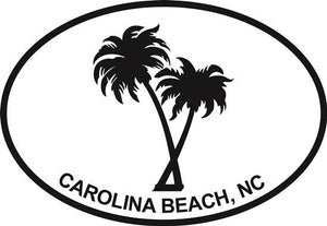 Palm Trees (Carolina Beach) decal from Oval Envy.  Great price for a durable vinyl decal.  We've got animals, beaches, dogs, cats and more!  Search our catalog for your next Euro Oval Decal.