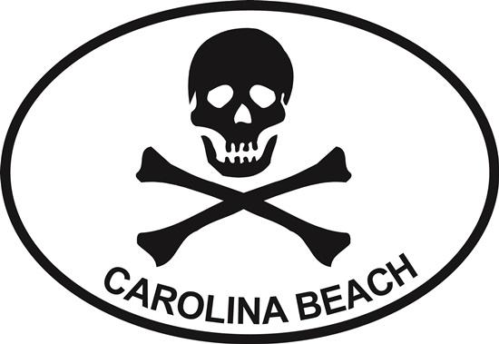 Jolly Roger (Carolina Beach) decal from Oval Envy.  Great price for a durable vinyl decal.  We've got animals, beaches, dogs, cats and more!  Search our catalog for your next Euro Oval Decal.