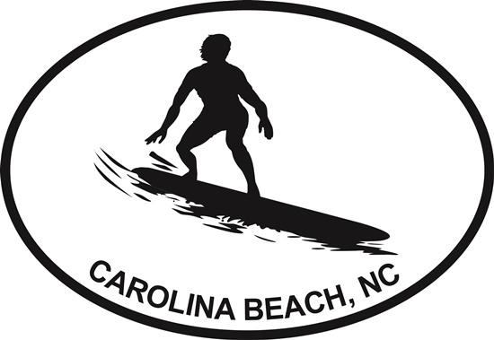 Surfing (Carolina Beach) decal from Oval Envy.  Great price for a durable vinyl decal.  We've got animals, beaches, dogs, cats and more!  Search our catalog for your next Euro Oval Decal.