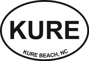 Kure Beach decal from Oval Envy.  Great price for a durable vinyl decal.  We've got animals, beaches, dogs, cats and more!  Search our catalog for your next Euro Oval Decal.