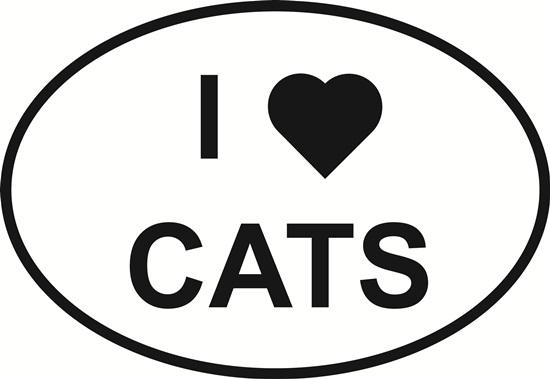 I Love Cats decal from Oval Envy.  Great price for a durable vinyl decal.  We've got animals, beaches, dogs, cats and more!  Search our catalog for your next Euro Oval Decal.