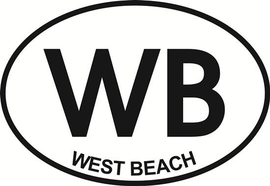 West Beach (WB) decal from Oval Envy.  Great price for a durable vinyl decal.  We've got animals, beaches, dogs, cats and more!  Search our catalog for your next Euro Oval Decal.