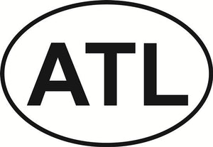 Atlanta decal from Oval Envy.  Great price for a durable vinyl decal.  We've got animals, beaches, dogs, cats and more!  Search our catalog for your next Euro Oval Decal.