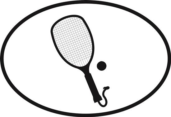Racquetball decal from Oval Envy.  Great price for a durable vinyl decal.  We've got animals, beaches, dogs, cats and more!  Search our catalog for your next Euro Oval Decal.