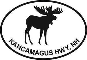 Kancamagus Highway decal from Oval Envy.  Great price for a durable vinyl decal.  We've got animals, beaches, dogs, cats and more!  Search our catalog for your next Euro Oval Decal.