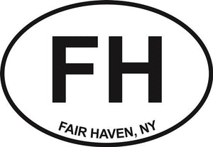 Fair Haven decal from Oval Envy.  Great price for a durable vinyl decal.  We've got animals, beaches, dogs, cats and more!  Search our catalog for your next Euro Oval Decal.