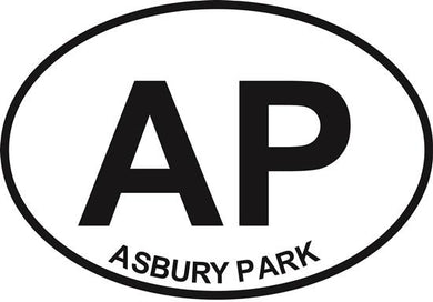Asbury Park decal from Oval Envy.  Great price for a durable vinyl decal.  We've got animals, beaches, dogs, cats and more!  Search our catalog for your next Euro Oval Decal.