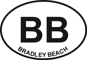 Bradley Beach decal from Oval Envy.  Great price for a durable vinyl decal.  We've got animals, beaches, dogs, cats and more!  Search our catalog for your next Euro Oval Decal.