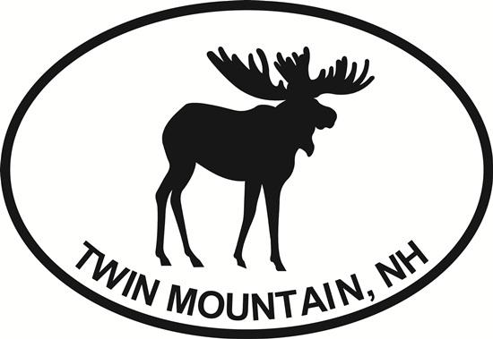 Twin Mountain, NH (Moose) decal from Oval Envy.  Great price for a durable vinyl decal.  We've got animals, beaches, dogs, cats and more!  Search our catalog for your next Euro Oval Decal.