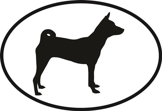 Basenji decal from Oval Envy.  Great price for a durable vinyl decal.  We've got animals, beaches, dogs, cats and more!  Search our catalog for your next Euro Oval Decal.