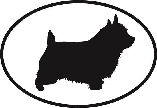 Norwich Terrier decal from Oval Envy.  Great price for a durable vinyl decal.  We've got animals, beaches, dogs, cats and more!  Search our catalog for your next Euro Oval Decal.