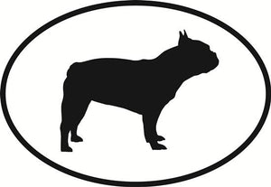 French Bulldog decal from Oval Envy.  Great price for a durable vinyl decal.  We've got animals, beaches, dogs, cats and more!  Search our catalog for your next Euro Oval Decal.
