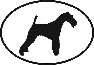 Fox Terrier decal from Oval Envy.  Great price for a durable vinyl decal.  We've got animals, beaches, dogs, cats and more!  Search our catalog for your next Euro Oval Decal.