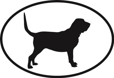 Bloodhound decal from Oval Envy.  Great price for a durable vinyl decal.  We've got animals, beaches, dogs, cats and more!  Search our catalog for your next Euro Oval Decal.